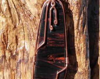 Mahogany Obsidian and copper pendant