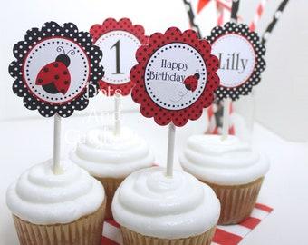 Printable Red Ladybug Cupcake Toppers-Red Ladybug Cupcake Toppers-1st Birthday Ladybug Party-Little Lovebug-Polkadot Ladybug Topper