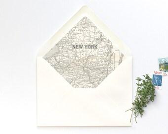New York State Vintage Map A7 Envelope Liner