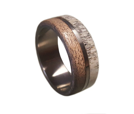 ring wedding inlay band ebony media deer with lapis lazuli wood rings antler