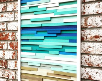 Wall Art - Wood Wall Art -  Wood Sculpture - Modern Reclaimed Wood - Ocean Coastal 20x40
