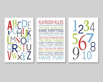 Boy Playroom Decor Boy Playroom Art Playroom Wall Art Playroom Rules Playroom Alphabet Numbers Set of 3 Playroom Prints - CHOOSE YOUR COLORS  sc 1 st  Etsy & Playroom rules | Etsy