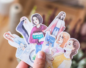 Set of fashion girls - decorative watercolour planner stickers suitable for any planner -477-