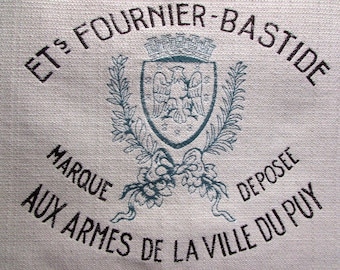 FRENCH Crest Motif 26x26 pillow front /chair upholstery fabric square teal brown