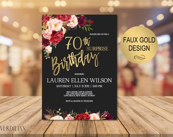 70th Surprise Birthday Invitation, Burgundy Gold Floral Birthday Party Invitation for Women, DIY Printable PDF Instant Download | VRD261THBS