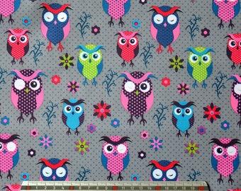 "GREY pvc coated fabric * waterproof * pattern ""OWL"""