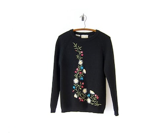 50% of Proceeds go to Planned Parenthood! Vintage Black Wool Sweater by White Stag, Made in Japan, Embroidered Floral Sweater, 60s, Small