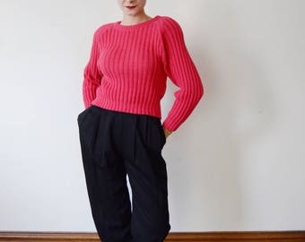 1980s Hot Pink Cropped Sweater - S/M