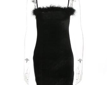 Fluffy black velvet dress