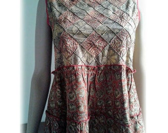 VINTAGE sleeveless Dress/India/Cotton/S Size/Flower prints/Embroidered/Terracotta/Ochre//Boheme/Gypsy/Hippie/Boho/Maternity dress/70'