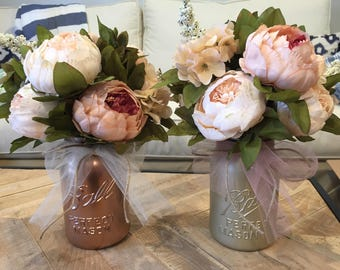 SALE!! Gorgeous Silk Peony Centerpiece Arranged in Ball Jar