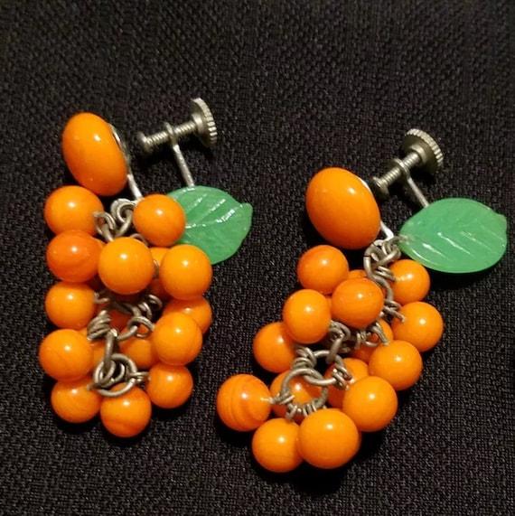 Mid Century Japanese Glass Beaded Citrus Oranges Dangle Tutti Fruity Earrings