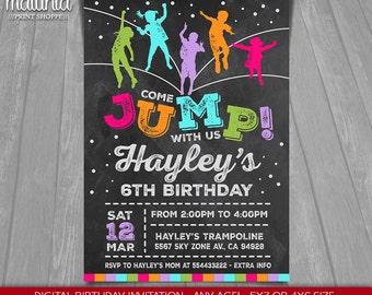 Trampoline Jump Invitation - Bounce House - Jump Invitation - Trampoline Printed Invite - Trampoline birthday invitate - Rebounderz