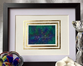 Large ultramarine and turquoise rectangle with gold splatter and double gold leaf border framed