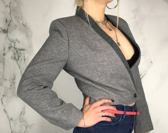 Vintage 60's Grey Wool Cropped Jacket | Wrap Jacket | Made in Japan | S | M