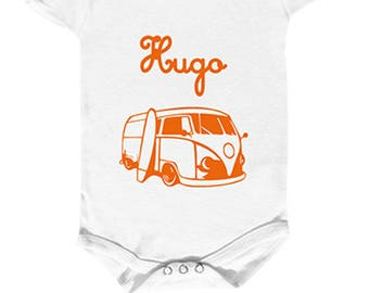 "Bodysuit surfer ""surf van"" personalized with your child's name."