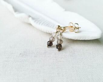 Smokey Quartz Gold Post Earrings Ombre Grey Quartz Simple Minimalist Fall Drop Earrings on 14k Gold Fill Posts Gift Small Gemstone