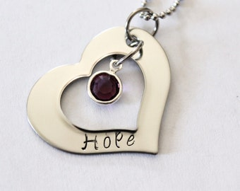 Hope - Hand stamped pendant with Purple Swarovski Crystal in the middle.