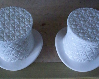 Fenton  Glass Top Hat Candy Dish Pair Daisy & Button Ultra White  Milk Glass Perfect Form  Entertaining
