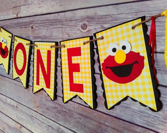 Gingham Elmo High Chair Banner, Elmo Banner, Elmo High Chair Banner, Elmo one banner, gingham banner, sesame street banner, elmo birthday