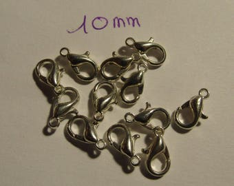 clasp, set of 10, carabiner, silver, 10mm