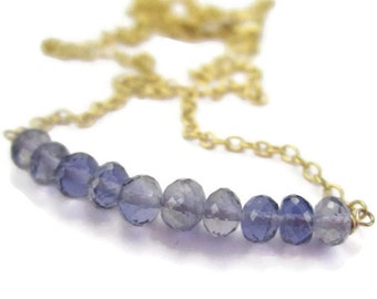 Iolite Blue Gemstone Necklace with Gold Wire Wrapped Beaded Bar September
