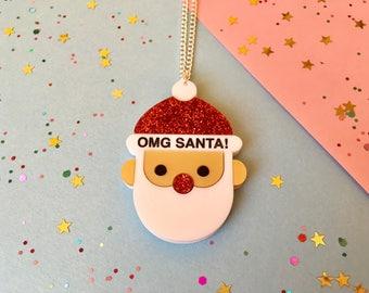 OMG Santa - Santa Necklace - Santa Jewellery - Christmas Necklace - Christmas Jewellery - Christmas Gift - Santa - Father Christmas - Gift