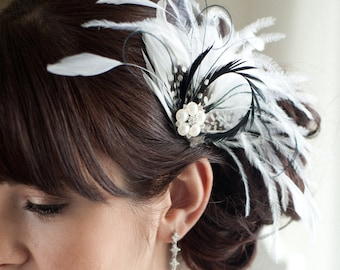 Wedding Hair Accessory, Bridal Feather Fascinator, Black and Diamond White Hair Accessory, Bridal Head Piece  - CARLY