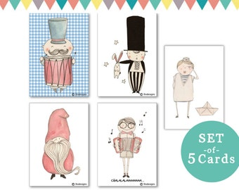 set of 5 cards - Boys