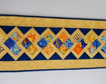 Quilted Table Runner in Blue and Yellow, Quilted Table Topper, Patchwork Table Runner, Birds and Butterflies, Spring Summer Table Quilt