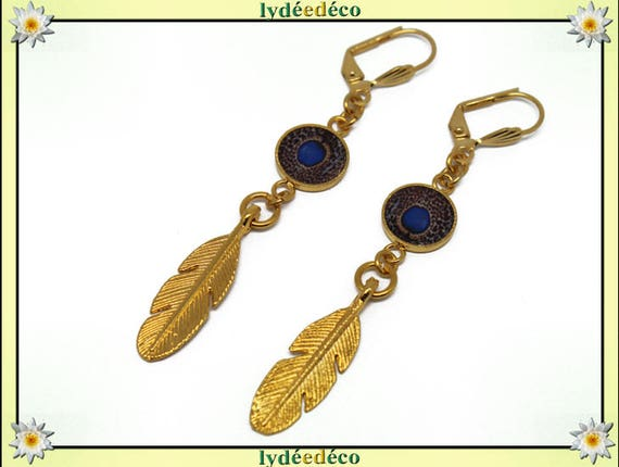 Earrings Peacock brass gold 24 k bird feather brown white blue resin gift birthday mother's day wedding thank you teacher