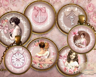 Vintage Shabby Chic Collage Sheet, digital round images 30,25,20,18mm  Instant Download Printables - jewelry pendants bottle caps cabochons