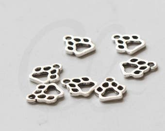 30pcs Oxidized Silver Tone Base Metal Charm-Paw 13x11mm (36554Y-V-115)