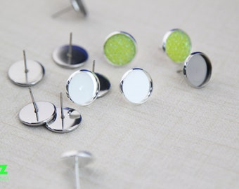 8mm Stainless Steel Earring Stud Ear studs-Stud Earring Blank-Bezel Stud Earrings with Backs-Choose The Color And Quantity