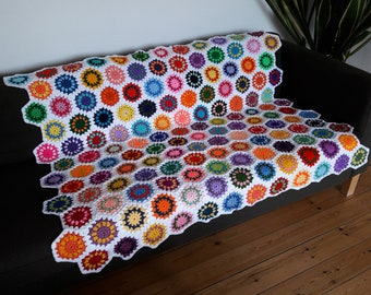 Crochet Hexagon Blanket Crochet Hexagon Afghan Hexagon Crochet Blanket Rainbow Blanket IN STOCK