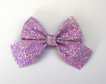 PHOEBE SAILOR LILAC Dust Glitter Bow Adorable Photo Prop Clip for Girl Child Photo Prop Newborn Bow Alligator Purple Lavender Bow Clip