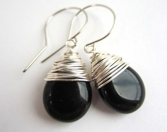 Black Earrings Dangle Earrings Wire Wrapped Earrings Black Drop Earrings Czech Glass Earrings Jewelry Handmade