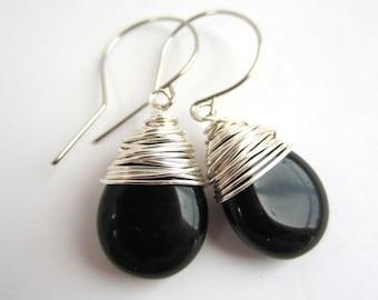Black Earrings Dangle Earrings Wire Wrapped Earrings Black Drop Earrings Czech Glass Earrings Jewelry Handmade