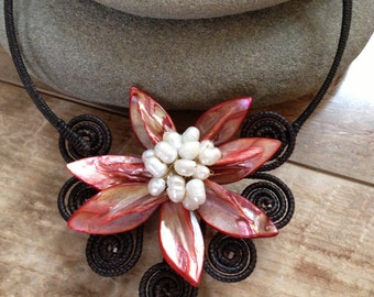 Handmade pearl red flower necklace/ wedding necklace/ wedding jewelry/ pearl beads/ metal free jewelry