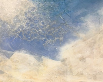 Sky Collage- 11x8- Original Mixed Media on Paper- 11.25x7.75- Blue, White- Cloud Art
