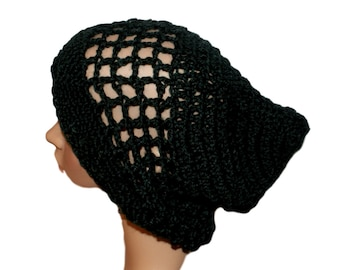Woman Hat, Lightweight Black Slouch Hat, Womens Rasta, Hipster Hat, Boho Style Hat, Oversize Beanie, Crochet Mesh Hat, Slacker Hat