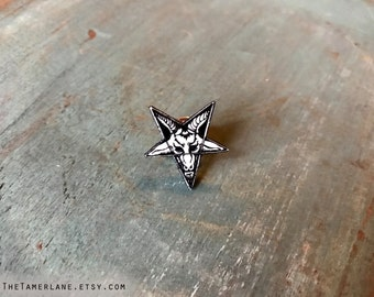 baphomet goat head pentagram lapel pin button brooch black dark star pendant goat head occult witch wiccan goth