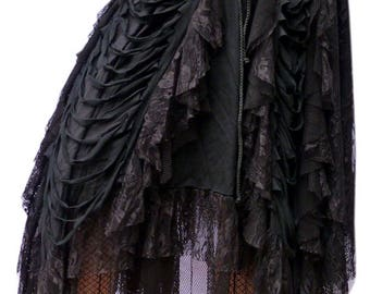 Long Gothic skirt made of net and lace