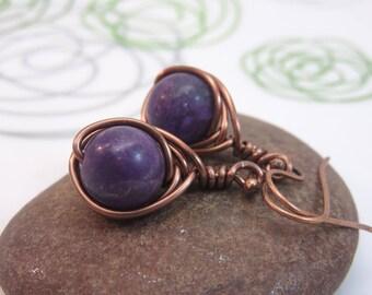 Lepidolite earrings - antiqued copper wire wrapped gemstone earrings - purple earrings copper earrings wire wrap earrings