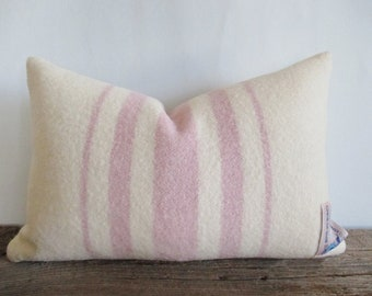 Ivory Wool Blanket Pillow Cover Pastel Mauve Stripes Zipper 12 x 18 Lumbar