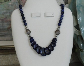 Lapis beaded necklace  -  17
