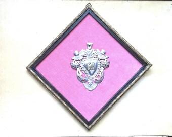 Antique Italian Ex voto Sacred Heart Votive into Antique Frame
