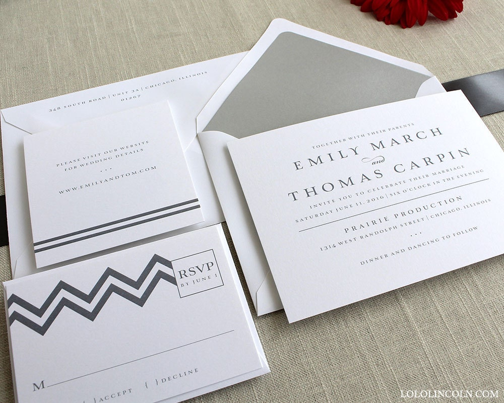 Modern Wedding Invitations Chevron Wedding Invitations Gray