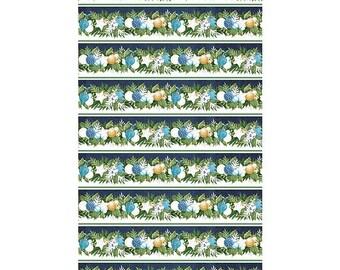 O Christmas Tree~Border Stripe/Navy Cotton Fabric By Northcott