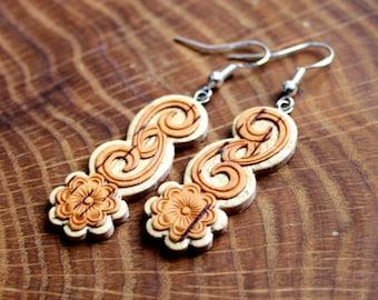 Exotic Earrings, Birch Bark Earrings, Wood Dangle Earrings, Birch Bark Jewelry, Small Earrings, Wooden Jewelry, Birch Earrings, Gift for Her